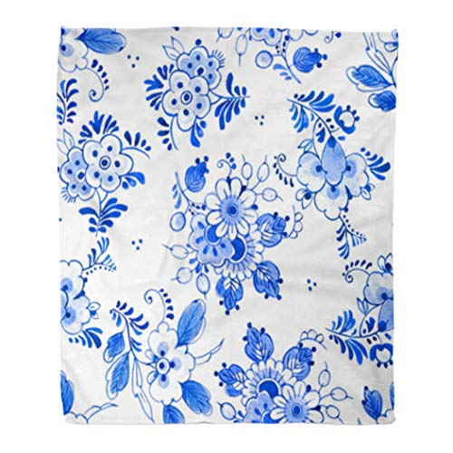 Golee Throw Blanket Delft Blue Watercolour Traditional Dutch Floral Bouquets of Flowers Cobalt 50x60 Inches Warm Fuzzy Soft Blanket for Bed Sofa