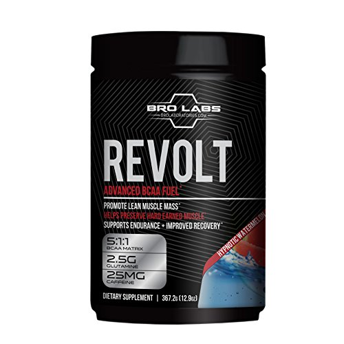 Workout Recovery BCAA Fuel - Revolt - Preserve Muscle Mass, Reduce Fatigue, Improve Weight Loss (5g Leucine + Glutamine + Caffeine) By Bro Labs & Brandon Carter - 12.9 Oz (367.2g), Hypnotic Watermelon by BRO LABS