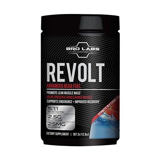 Workout Recovery BCAA Fuel - Revolt - Preserve Muscle Mass, Reduce Fatigue, Improve Weight Loss (5g Leucine + Glutamine + Caffeine) By Bro Labs & Brandon Carter - 12.9 Oz (367.2g), Hypnotic Watermelon