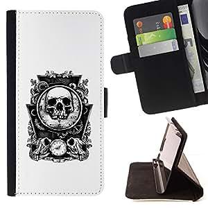 Momo Phone Case / Flip Funda de Cuero Case Cover - Los huesos del cráneo del espejo Tiempo Muerte Blanca - Samsung Galaxy A3