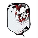 YOLIYANA Halloween Durable Racket Cover,Skull with Crossed Bones Over Grunge Background Evil Scary Horror Graphic for Sandbeach,One Size