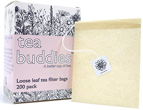 Tea Buddies Loose Tea Filter Bags, Eco-Friendly Disposable Tea Infuser with Drawstring - Fill Your Own Empty Loose Tea Bags - Bonus Free Recipes! ()