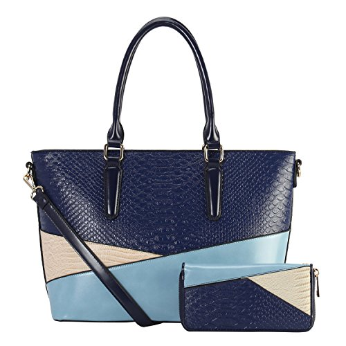 Python Embossed PU Leather Bag, 2 Set Tote Bag With Small Wallet ()