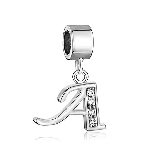 Alfabeto ciondoli lettere A,Z iniziale pendente Clear Birthstone e ciondoli  Pandora, Chamilia bracciali.,