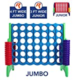 Giant 4 in A Row, 4 to Score - Premium Plastic Four Connect Game JUMBO 4 Foot Width Set with 44 Rings by Rally & Roar - Oversized Fun Family, Kids Indoor/Outdoor Games