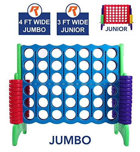 Four Jumbo (Giant 4 in A Row, 4 to Score - Premium Plastic Four Connect Game JUMBO 4 Foot Width Set with 44 Rings by Rally & Roar – Oversized Fun Family, Kids Indoor/Outdoor Games)
