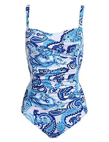 Langle Females Tankini Elegant Retro Vintage Monikini Swimming Suit (Blue Pattern, Medium)