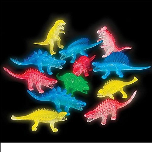 Glow in the Dark Dinosaur Assortment (Package of 12) (Glow In The Dark Package compare prices)