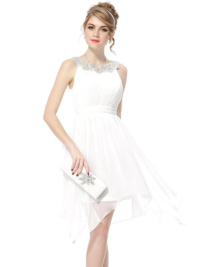 Hermoso vestido corto para bodas con cuello decorado y falda vaporosa. f175d22c483b
