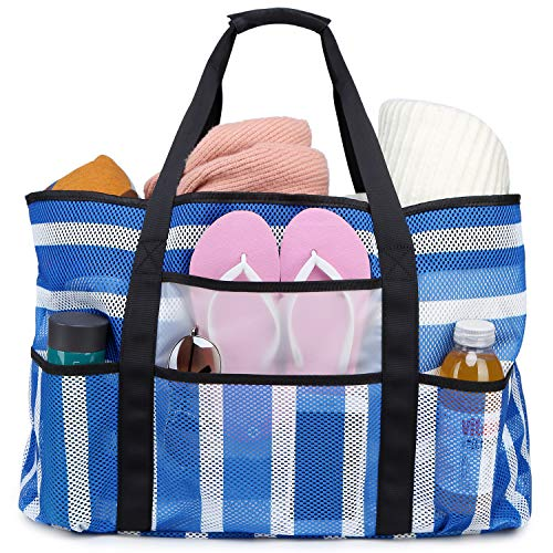 BLUBOON Mesh Beach Bag Toy Tote Bag for Family Pool Oversized 22 inches Grocery Shopping Bag with Waterproof Cell Phone Pocket and Sandproof Bottom