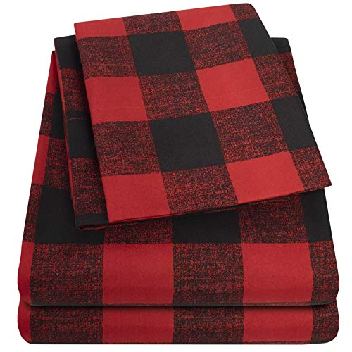 1500 Supreme Collection Buffalo Print Sheet Set, Queen Size - Luxury Bed Sheets Set with Deep Pocket Wrinkle Free Hypoallergenic Bedding, Queen, Burgundy/Black Buffalo Print