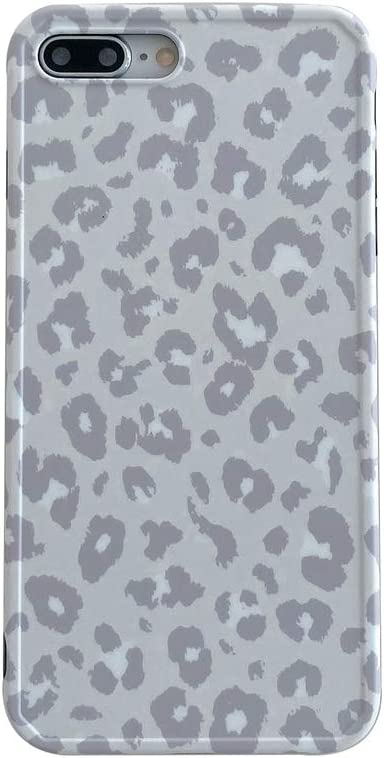 INS Cold Gray Leopard Print Soft Case for Apple iPhone 7 Plus 8 Plus with Fashion Frame Cute Design Skin Cellphone Protective Cover for iPhone 7 Plus & 8 Plus Cases