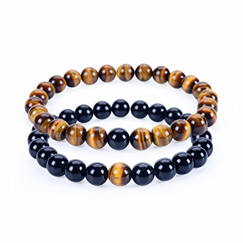 - Cherry Tree Collection Couples Distance Bracelets | His and Hers | Gemstone Beaded Stretch Bracelets 8mm Round Beads (Tiger's Eye and Black Agate - Large/Medium)