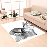 Nalahome Custom carpet n Cat Portrait in Blurry Watercolor Shady Tones Cute Animal Baby Kitty Artsy Picture Black White area rugs for Living Dining Room Bedroom Hallway Office Carpet (32.4''x118'')