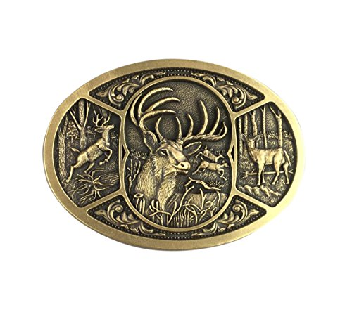 New Vintage Bronze Plated Western Deer Hunter Hunting Belt Buckle Gurtelschnalle