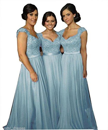 Fanciest Women' Cap Sleeve Lace Bridesmaid Dresses Long Wedding Party Gowns Light Blue US18W