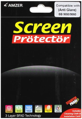 Amzer Anti-Glare Screen Protector with Cleaning Cloth for BlackBerry Torch 9850/9860 (9850 Screen Protectors)