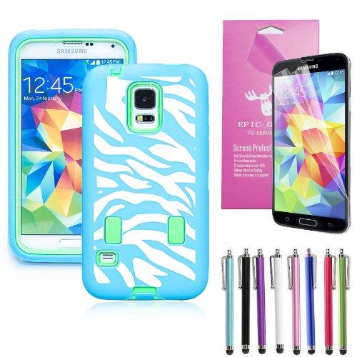 Epic Gadget(TM) Samsung Galaxy S5 i9600 Hybrid Heavy Duty Protective Case Green and Light BlueZebra Cover Combo Skin(Zebra Green Case)