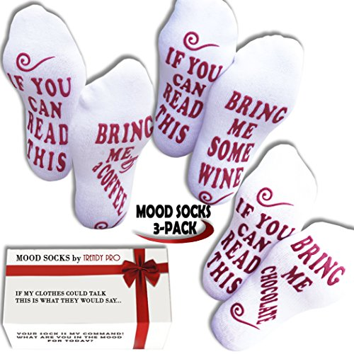 Funny Christmas Gifts TALKING SOCKS TRENDY - IF YOU CAN READ THIS BRING ME A GLASS OF WINE SOCKS Gifts for Women Cool Novelty Gift Idea for Her, Wine Enthusiast (3 pairs Bring Wine Coffee Chocolate)