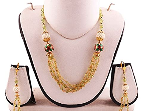 Neerupam Collection 20 Inch Green Peridot Gemstone Round Shape Beads Fancy s Hook Necklace and Earring Set For - Peridot Gemstone Round Shape