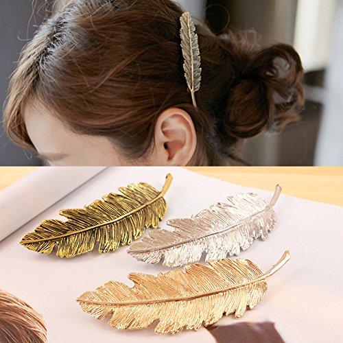 OPCC 6pcs Leaves Hair Accessories Headwear , Leaf Design Punk Women Girl Hair Clip Pin Claw Barrettes Accessories (Gold, silver & bronze)