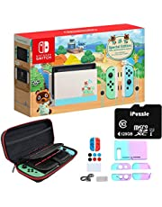 """Newest Nintendo Switch Animal Crossing: New Horizons Edition with Green and Blue Joy-Con - 6.2"""" Touchscreen Display, USB-C, WiFi, 32GB Storage - Green and Blue - 128GB SD Card + 12-in-1 Carrying Case"""