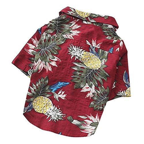(AOFITEE Dog Shirts Pet Summer Hawaiian Camp T-Shirt, Cute Tropical Pineapple Watermelon Printed Puppy Cat Beachwear Vest Costume)