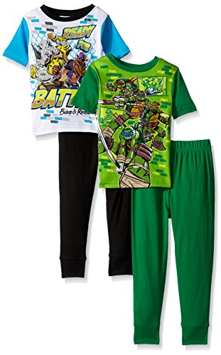 Four Ninja Turtles (Nickelodeon Boys' Little Boys' Ninja Turtles 4-Piece Cotton Pajama Set, Black, 6)