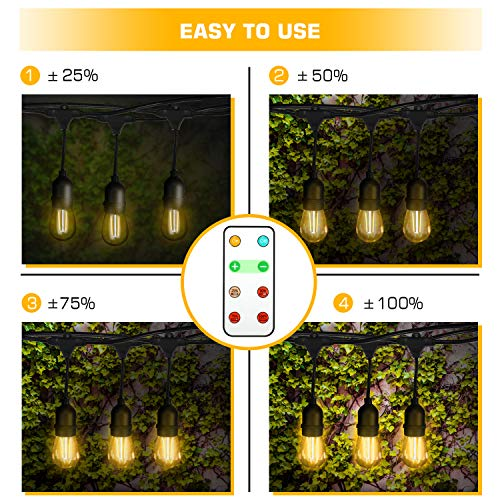 Foxdam Wireless Remote Control Dimmer,Max Power 180W,Outdoor Dimmer for The String Lights,Memory,150Ft Max Range,IP68 Waterproof, Stepless Dimming,Plug in Dimmer Switch(ONLY for LED DIMMABLE Bulb) by Foxdam (Image #2)