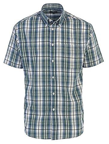 Gioberti Men's Plaid Short Sleeve Shirt, Blue / Green, X Large - Button Down Plaid Dress Shirt