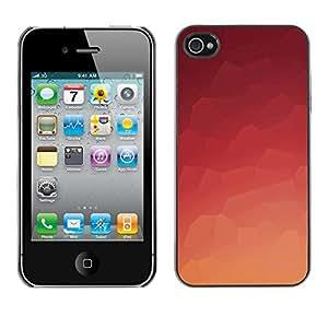 KLONGSHOP // Cubierta de piel con cierre a presión Shell trasero duro de goma Protección Caso - Naranja del azulejo - iPhone 4 / 4S //