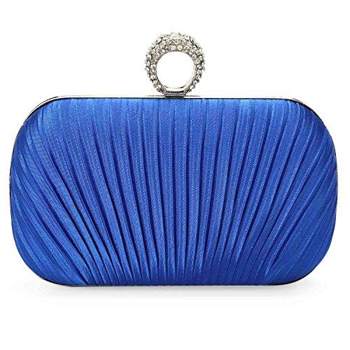 CLOCOLOR Bolso de mano con diamantes cristales cartera de mano para mujer bolso de estilo elegante bolso para fiesta de noche con cadena de metal Azul real