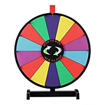"""18"""" Round Tabletop Color Dry Erase Spinning Board Prize Wheel 14 Clicker Slots w/ Wood Stand Portable for DIY Custom Sheet Desk Top Carnival Crowd Drawing Game by Generic"""