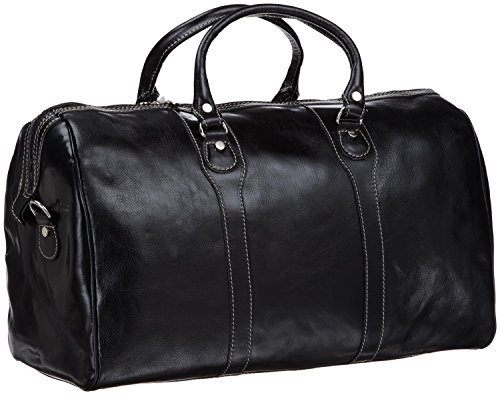 Floto Milano Duffle Bag, Leather Carry on in Black by Floto