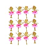 AMZTM Gold Glitter Ballerina Dancing Girl Cupcake Toppers, Wedding Bridal Shower Birthday Party Decoration Cake Topper 12PCS (Dancing girl)