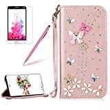 Girlyard For LG G6 Diamond Wallet Leather Case Cover Bling Glitter Crystal PU Leather Folio Flip Stand Protective Magnetic Case Cover with Wrist Strap and Card Slots Rose Gold Butterfly Flower