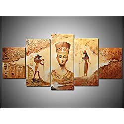 Handmade 5 Piece Yellow Modern Abstract Oil Paintings On Canvas Wall Art Egyptian Pictures For Living Room Home Deocr