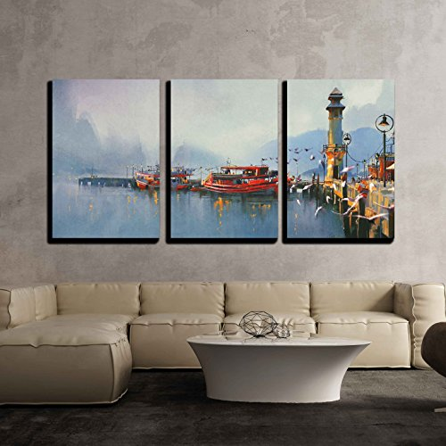 Lighthouse Watercolor Paintings (wall26 - 3 Piece Canvas Wall Art - Fishing Boat in Harbor at Morning,Watercolor Painting Style - Modern Home Decor Stretched and Framed Ready to Hang - 24