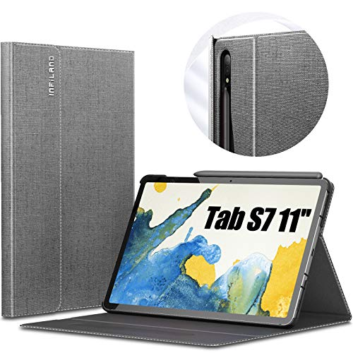 INFILAND Galaxy Tab S7 Case, Multiple Angle Stand Cover Compatible with Samsung Galaxy Tab S7 11-inch SM-T870/T875/T876 2020 Release Tablet [Auto Wake/Sleep], Gray
