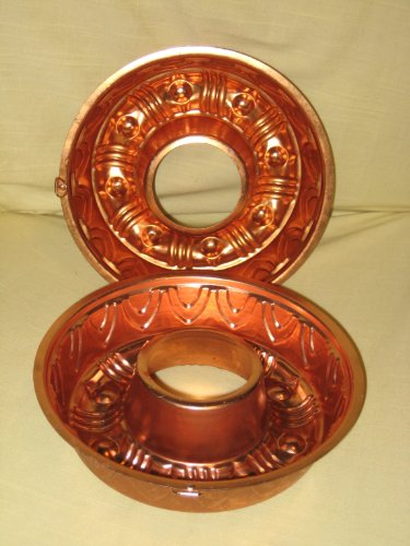 (2) Pair of Vintage Coppertone Jell-O Mold / Cake Baking Pan