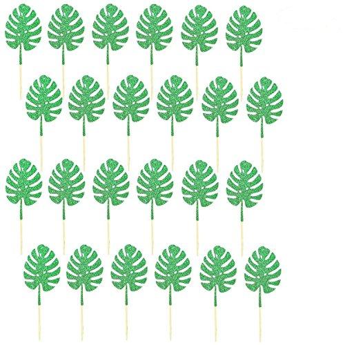 24Pcs Tropical Palm Leaves Cupcake Topper- Hawaii Luau Tropical Theme Summer Party Decoration Supplies -