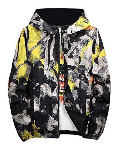 Camo Sides Mens Print Coat Graffiti Hood Yellow Mogogo up Both Zip Jacket Wear qzwAnOxt