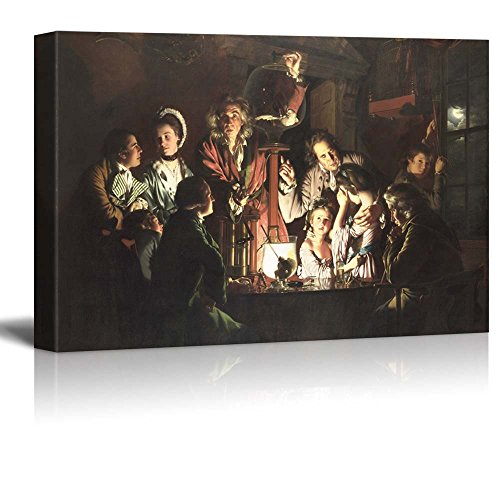 Wall26 - An Experiment on a Bird in the Air Pump by Joseph Wright of Derby - Canvas Print Wall Art Famous Oil Painting Reproduction - 24