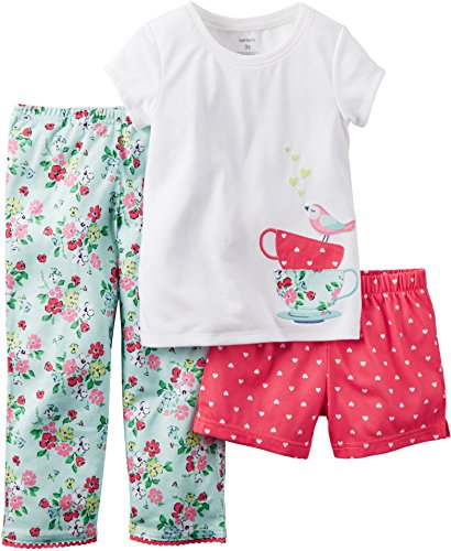 Carter's Baby Girls' 3 Piece Pajama Set (12 Months, Teacup) ()
