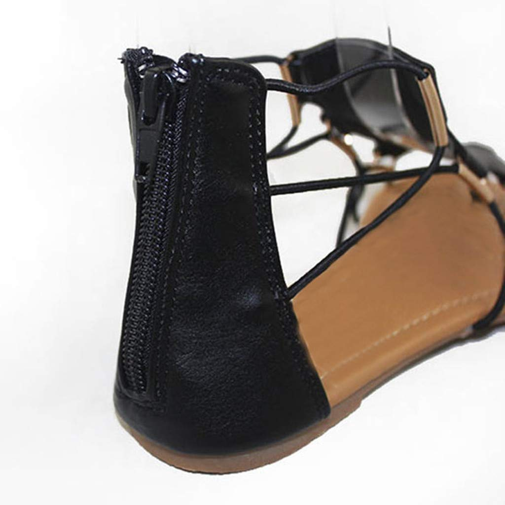 Moonker Ladies Girls Sandals,Women Summer Fashion Retro Round Toe Flat Platform Shoes Cross Strap Sandals