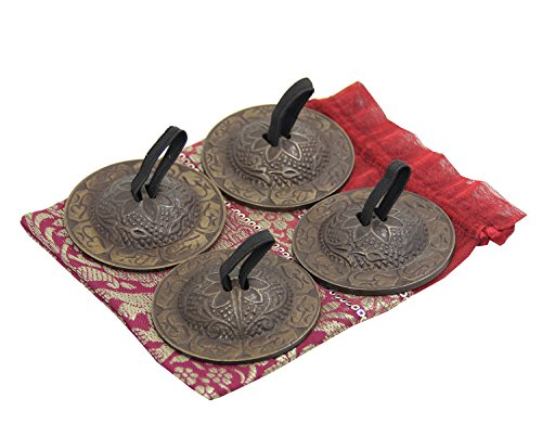 DharmaObjects Belly Dancing - OM Pro Finger Zills or Cymbals 2 Pair/4pcs Antique (Middle Eastern Percussion Instruments)