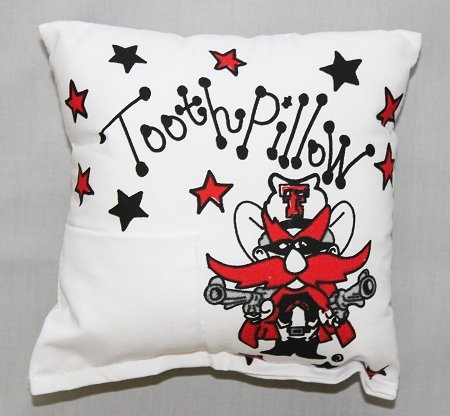 Bunnies and Bows - Texas Tech University Tooth Fairy Pillow - Personalized - Bow University Pillow