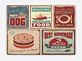 Ambesonne Retro Bath Mat, Nostalgic Tin Signs and Mexican Food Prints Aged Advertising Logo Style Artistic Design, Plush Bathroom Decor Mat with Non Slip Backing, 29.5 W X 17.5 W Inches, Multi
