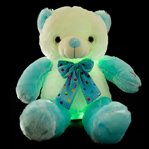 Wewill New Style LED Inductive Teddy Bear Stuffed Animals Plush Toy Colorful Shining Teddy Bear Christmas Gift for Kids, 12- Inch(blue&white)