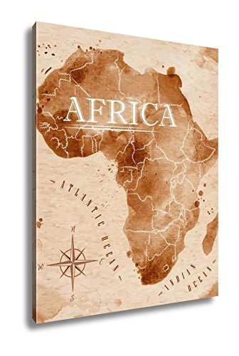 Ashley Canvas Map Of Africa In Old Style In Format Brown Graphics In A Retro Style, Wall Art Home Decor, Ready to Hang, Color, 20x16, AG5773243 by Ashley Canvas